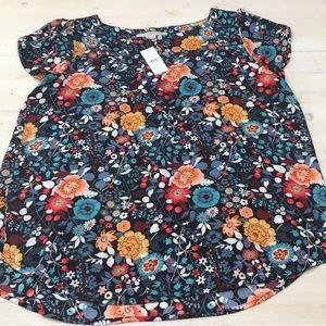 Loft NWT floral cap sleeve blouse sz M